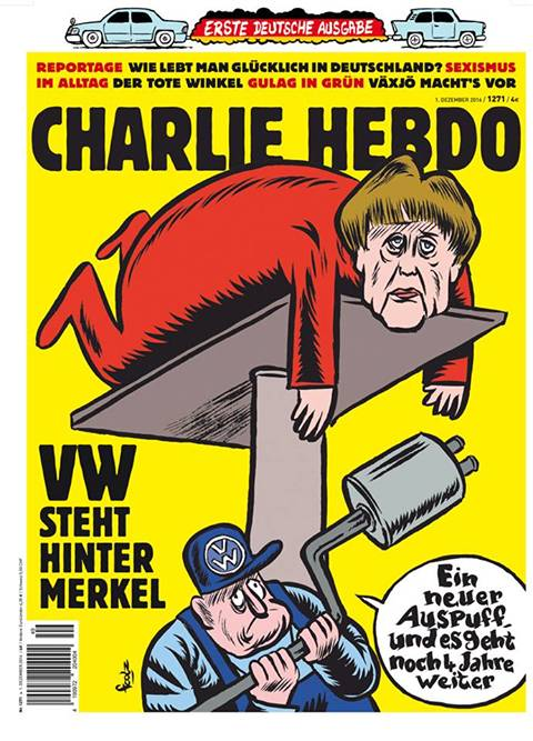 Charlie Hebdo sbarca in Germania e sfotte da subito la Merkel