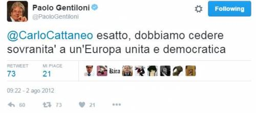 """Quando Gentiloni twittava: """"Dobbiamo cedere sovranità a Ue"""""""