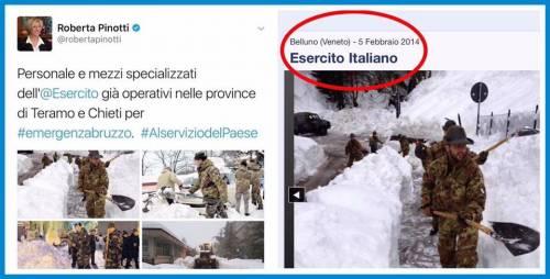 """Gaffe della Pinotti: """"Esercito già in Abruzzo"""", ma la foto è vecchia"""