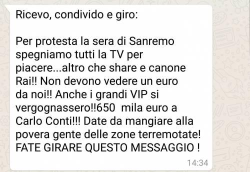 """Sanremo, proteste contro il cachet stellare di Conti: """"Date i soldi ai terremotati"""""""