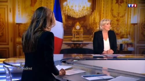 """Marine Le Pen a TF1: """"Via la bandiera dell'Ue dallo studio"""" 4"""