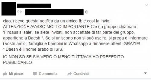 """""""Quel gruppo WhatsApp è dell'Isis, non entrate"""". Ma è una bufala"""