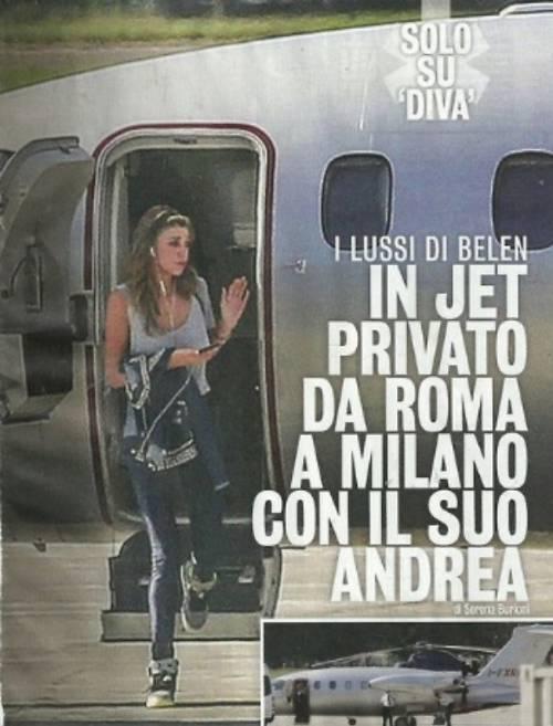 Belen Rodriguez e Iannone: viaggi in jet privato