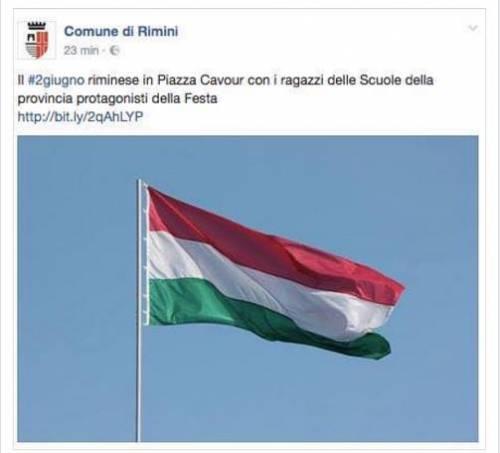 La bandiera ungherese, scambiata per il Tricolore