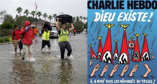 """Charlie Hebdo su Harvey: """"Dio esiste: ha annegato i neonazisti in Texas"""""""