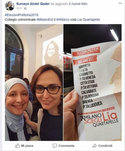 Il tifo di Sumaya per Quartapelle Così sosteneva la candidata Pd