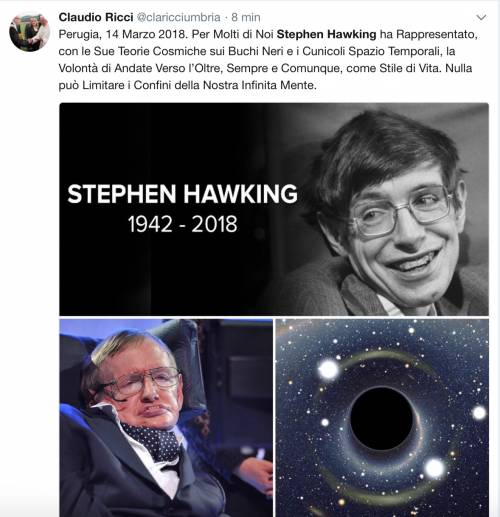 Stephen Hawking, le reazioni social sulla morte 8