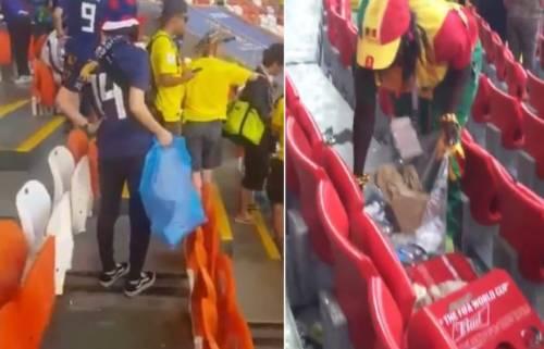 Russia 2018, tifosi giapponesi e senegalesi puliscono lo stadio