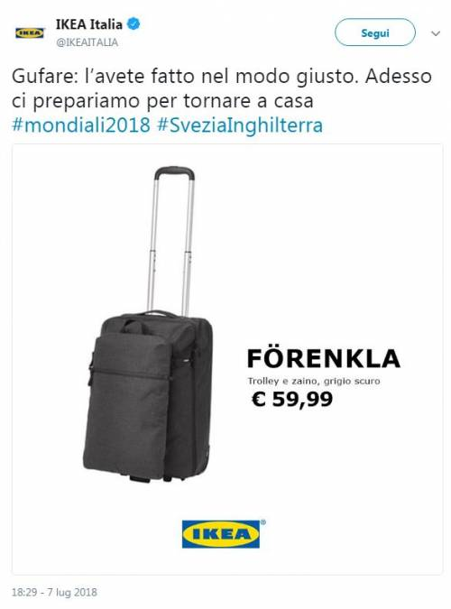"Mondiali 2018, Ikea agli italiani: ""Avete gufato bene la Svezia"""