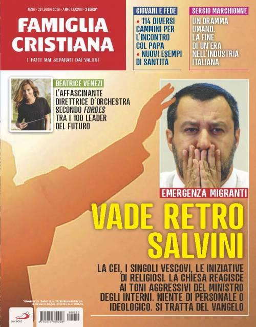 La copertina di Famiglia Cristiana contro Matteo Salvini