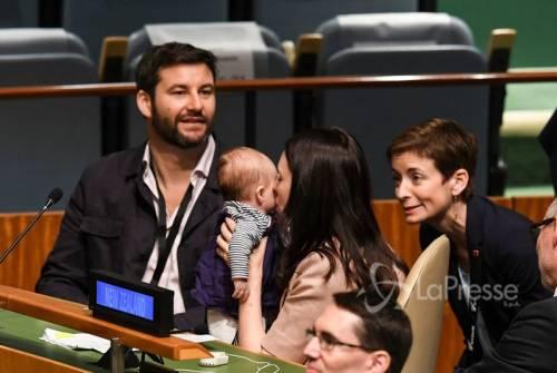 "La premier neozelandese all'Onu con la ""first baby"""
