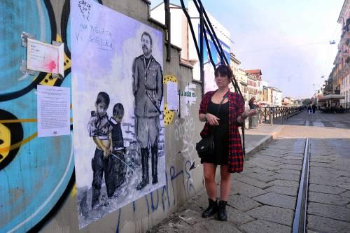"""""""Una pis...ata vi seppellirà"""", nuovo murales anti Salvini a Milano 7"""