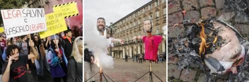 Torino, gli studenti in rivolta bruciano i manichini di Salvini e Di Maio