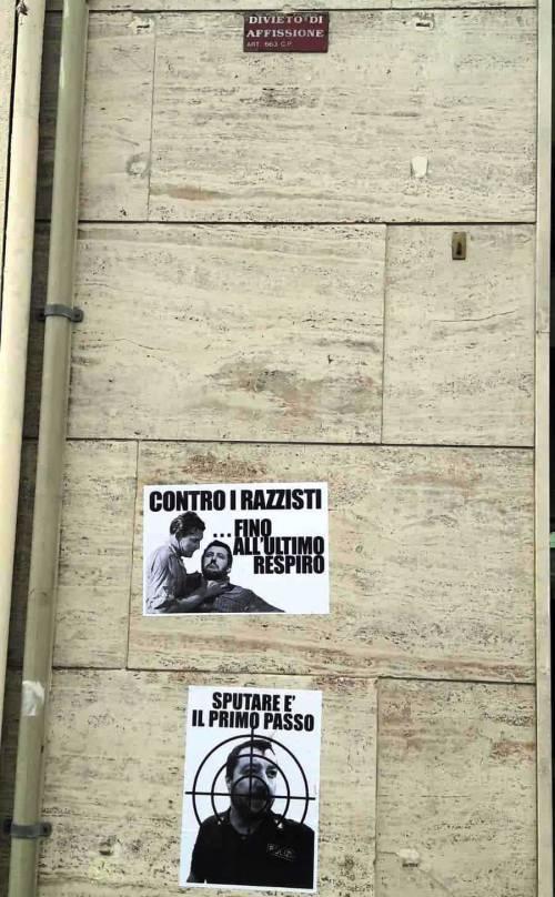 Scritte e volantini  contro Salvini i a Cagliari 2
