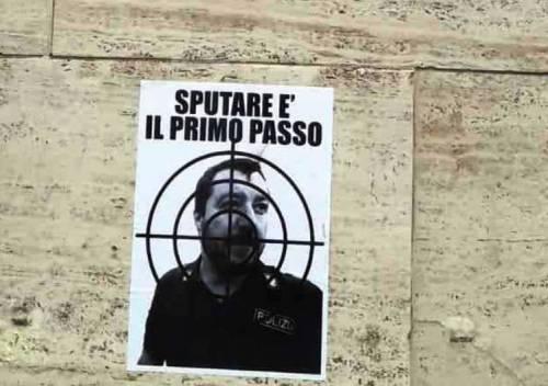 Scritte e volantini  contro Salvini i a Cagliari 3