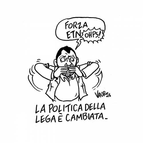 Vignetta choc di Vauro: pur di attaccare Salvini sfrutta il dramma dell'Etna