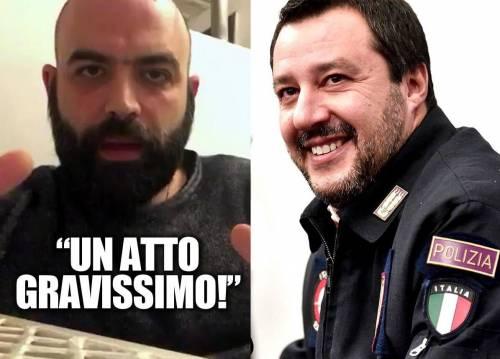 Saviano usa le forze dell'ordine pur di attaccare (ancora) Salvini