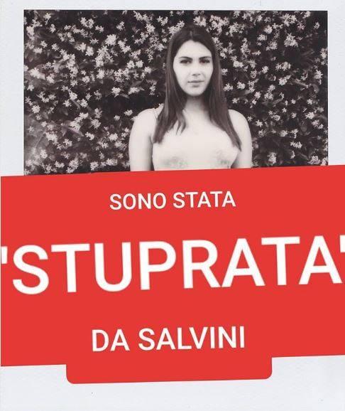 """La foto choc di Valentina Nappi """"Sono stata stuprata da Salvini"""""""
