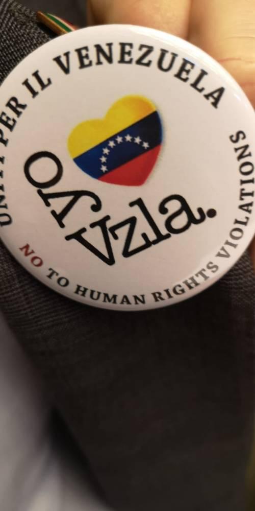 Deputati FdI in Aula con la spilla per il Venezuela