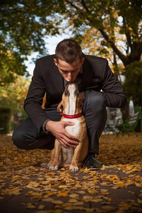 Gli uomini amano il loro cane come un figlio