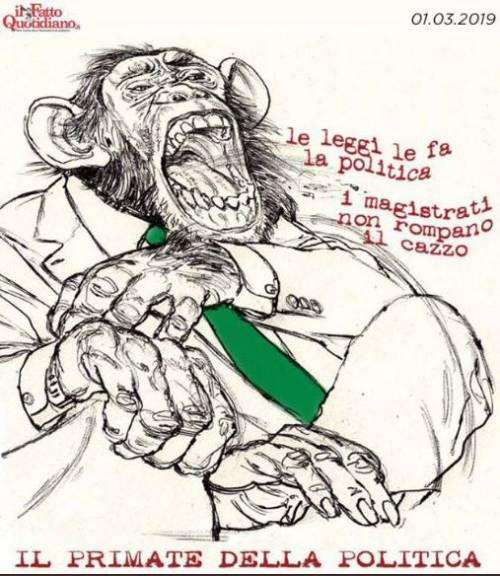 """Il Fatto paragona Salvini a una scimmia. Lui cita Sciascia: """"Ominicchi"""""""