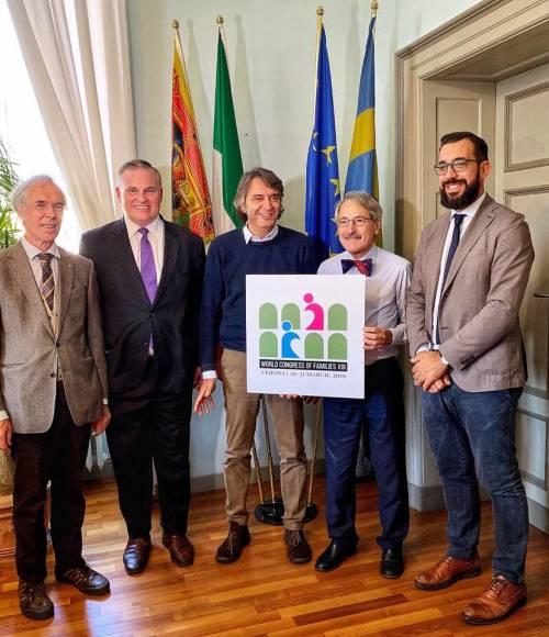 Da sinistra Alberto Zelger, Brian Brown, Federico Sboarina, Antonio Brandi, Jacopo Coghe