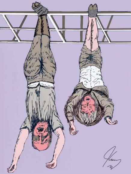"""Carrey disegna il Duce a testa in giù. La nipote Alessandra: """"Bastardo"""""""