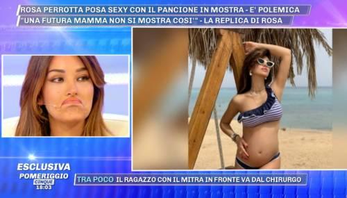 Pomeriggio 5, Rosa Perrotta attaccata in studio per il pancione in bella vista
