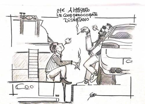 La vignetta del giorno - Le coop e i 21 euro per gli immigrati