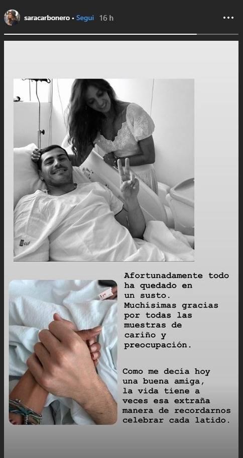 Iker Casillas in ospedale, la moglie Sara corre da lui
