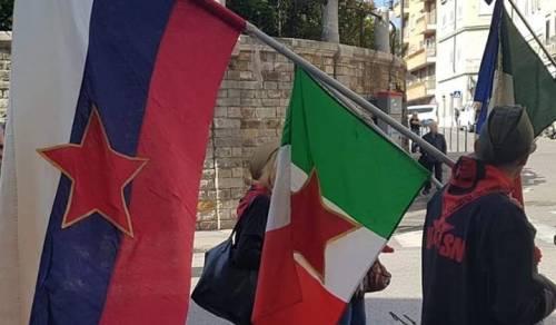 Quelle bandiere titine in corteo con i sindacati