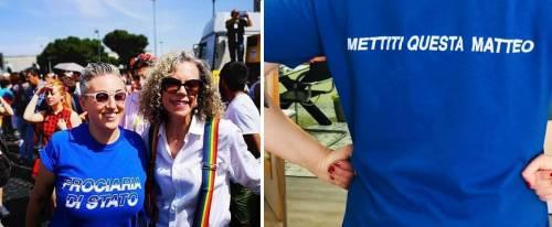 La maglietta choc sulla polizia. E la Cirinnà ghigna al Gay Pride