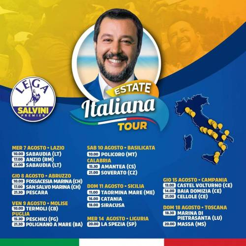 Salvini in tour sulle spiagge italiane, ma niente dj set