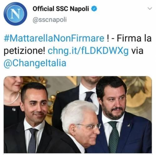 """Tweet del Napoli: """"Mattarella, non firmare il decreto sicurezza"""". Poi il club si scusa"""