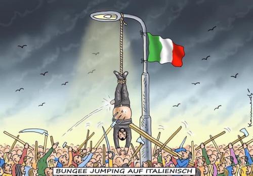 Salvini appeso a testa in giù: vignetta choc dalla Germania