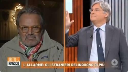 """Scontro in diretta tra Paolo Del Debbio e Oliviero Toscani: """"Vai a fare le fotografie e non rompere le palle"""""""