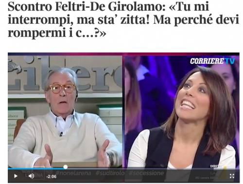 """Feltri a De Girolamo: """"Tu mi interrompi, ma sta' zitta!"""""""