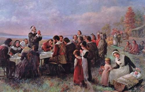 The First Thanksgiving at Plymouth di Jeannie Augusta Brownscombe