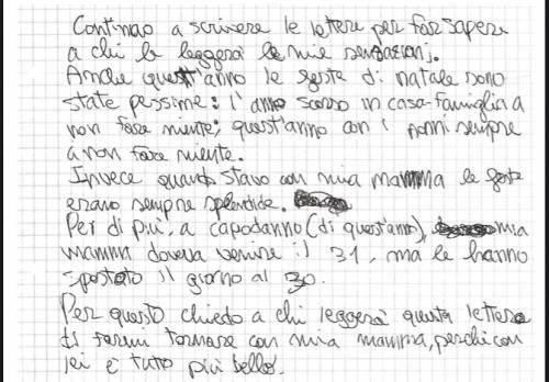 """Le lettere del bambino allontanato dalla mamma: """"voglio tornare a casa"""" 4"""