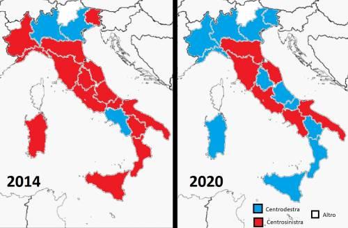 Cartina Politica Regioni Italia.La Mappa Delle Regioni Dopo Il Voto In Emilia Romagna E In Calabria Ilgiornale It