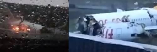 Turchia, aereo va fuori pista: si spezza in tre e va a fuoco