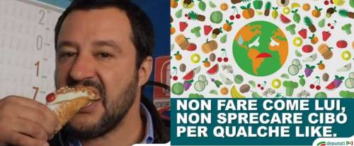 """Pd usa foto di Salvini contro spreco alimentare: """"Non fate come lui"""""""