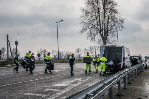 Emergenza coronavirus, scambio di beni al checkpoint di Codogno  20