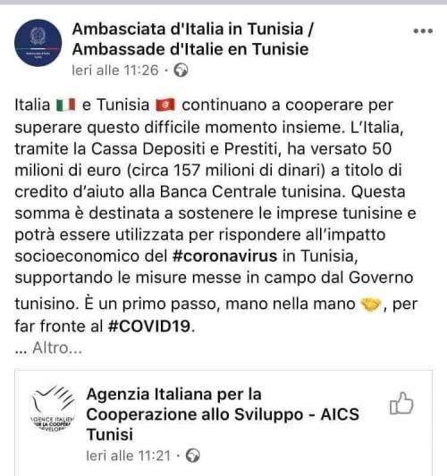 L'Italia dona 50 milioni alla Tunisia: ma il post viene rimosso