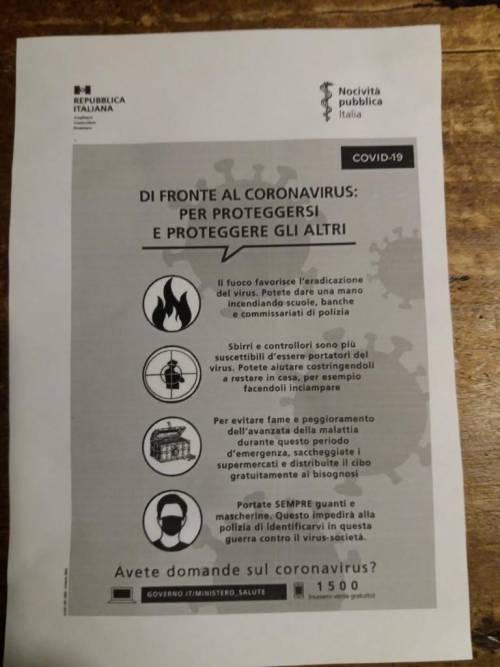 """Il volantino choc a Cremona: """"Saccheggiate i supermercati e colpite gli sbirri"""""""