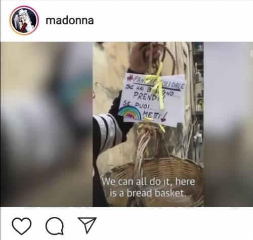 Il paniere solidale fa il giro del mondo: la pop star Madonna pubblica il video su Instagram