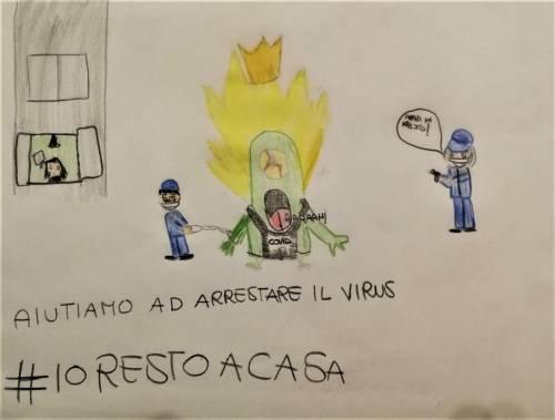 Milano, i disegni dei figli dei poliziotti che combattono il virus
