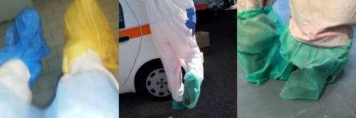 Buste di plastica al posto dei calzari, così assistiamo i pazienti Covid