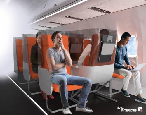 In aereo con poltrone invertite e schermature: ecco come cambia volare