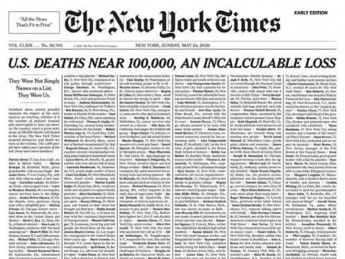 Usa, pagina a lutto con l'elenco delle vittime